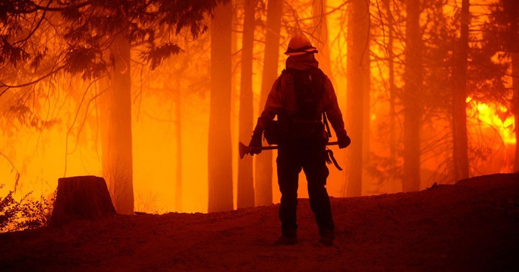 Terrifying images of California's wildfires show firefighters tackling the flames