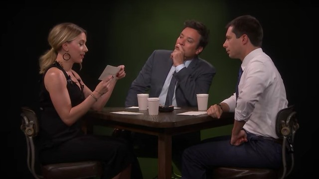 Watch Scarlett Johansson, Pete Buttigieg, and Jimmy Fallon roast each other in tense interrogation game