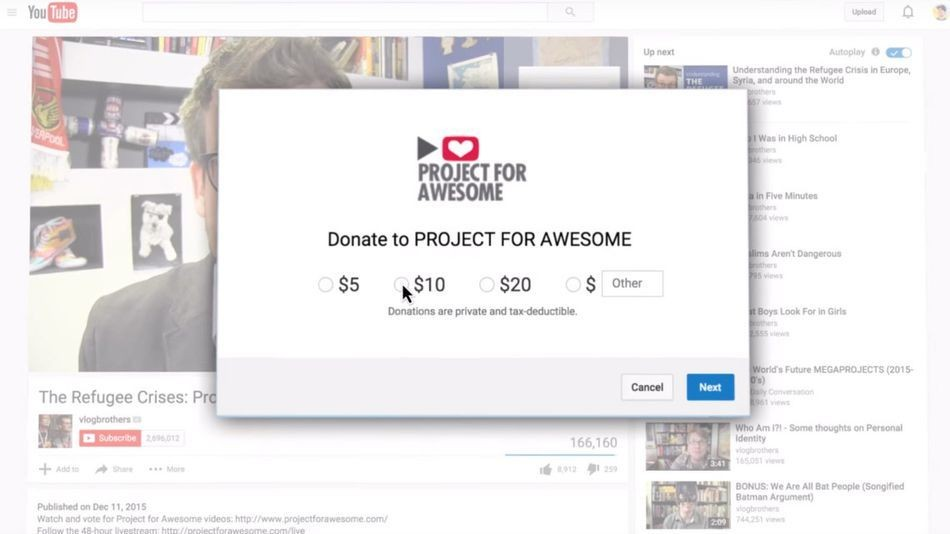 Google now lets YouTubers raise money for charity with every video