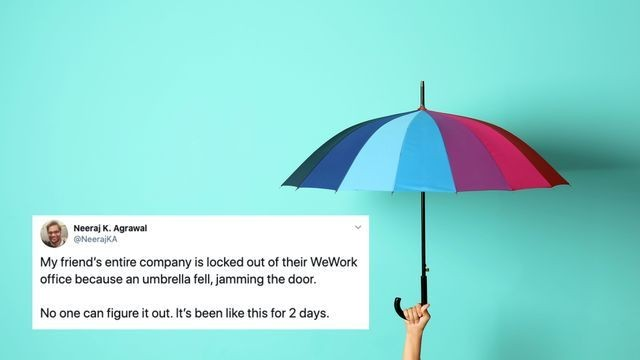 An umbrella blocked people out of a WeWork office for 2 days
