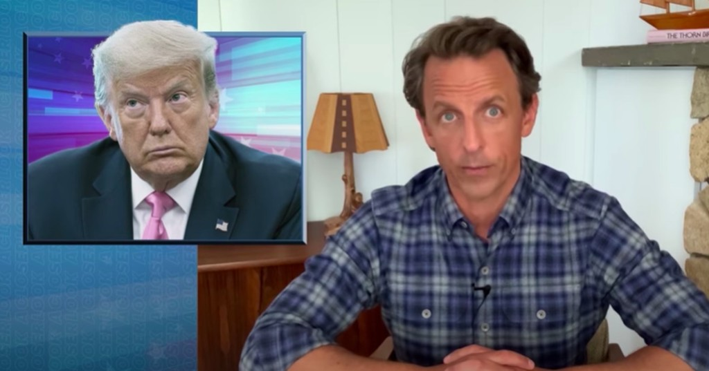 Seth Meyers sums up the 'cruel contrast' of Trump's America in 2 savage minutes