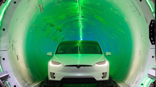 Two Teslas race, one above ground, one underground. Guess which one won?