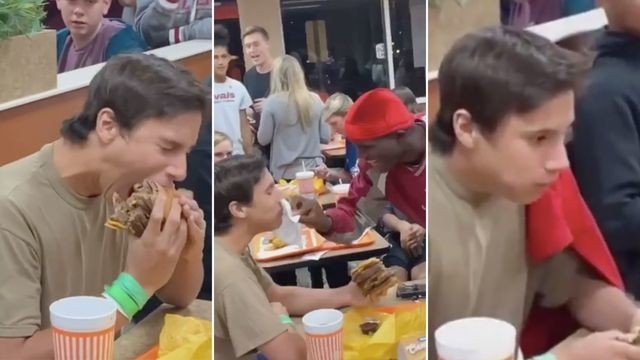 The viral TikTok of a teen eating a 10-patty burger is a storytelling masterpiece