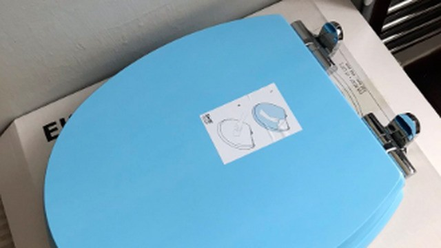 Mom very disappointed to find out truth behind her new bright blue IKEA toilet seat