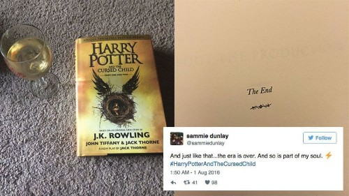 People are finishing the final 'Harry Potter' book and things are getting very emotional