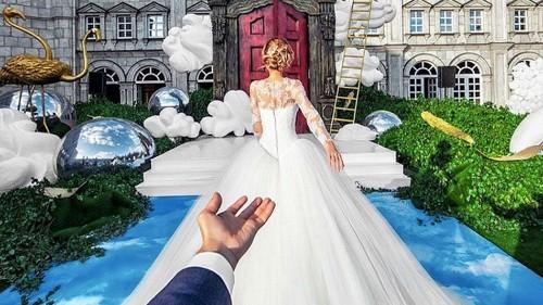 Photographer follows his bride to the altar in stunning wedding photos