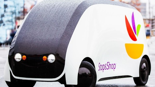 Too lazy to get groceries? This self-driving car will bring a tiny supermarket to you.