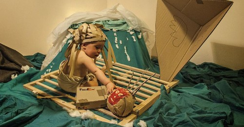 Baby Stars in Cardboard Box Remakes of Hollywood Classics