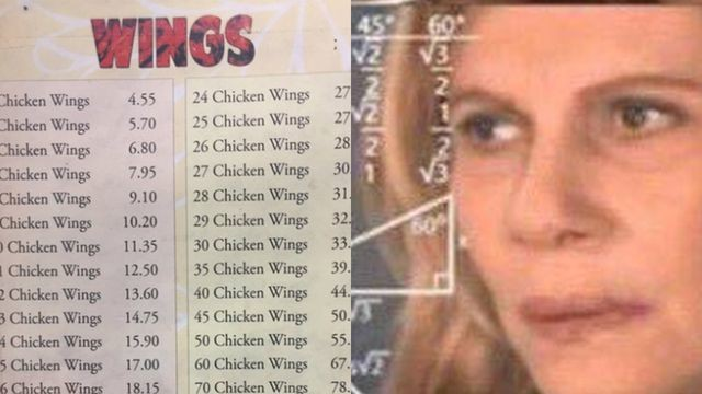 This wings menu turns out to be quite the math problem