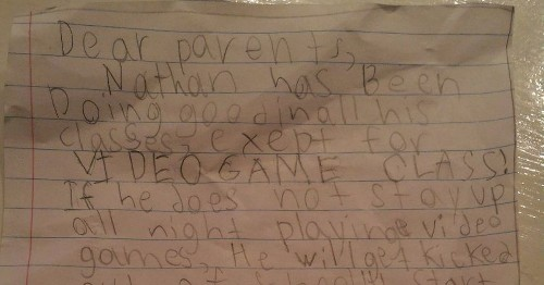 Genius kid fakes letter from school claiming he needs more time for 'video game class'