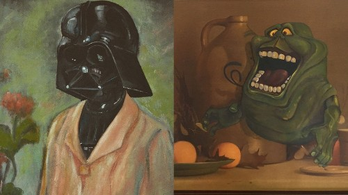 Artist upcycles old thrift store paintings into nerdy masterpieces