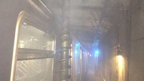 Massive drill bit nearly skewers New Yorkers in packed subway car