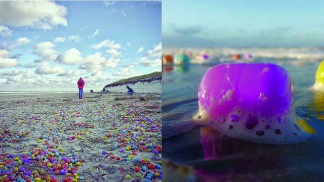 Thousands of toys washed up on a beach and kids are going wild