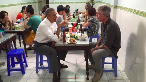 Barack Obama and Anthony Bourdain meet up in Hanoi for some beer and bun cha
