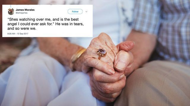 An elderly man's words about his late wife reduced a shop full of people to tears