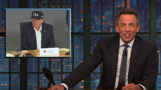 Seth Meyers breaks down the 'insane' things Trump said about hurricanes, climate change, and Colombia this week