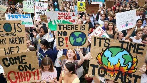 The student climate strikes have kicked off, and there were excellent signs
