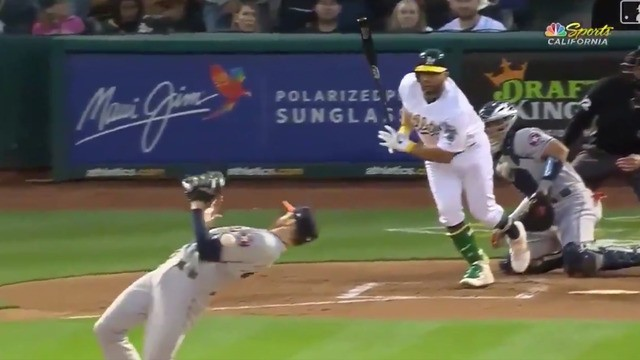 Pitcher pulls off a move straight out of the 'Matrix' to avoid line drive