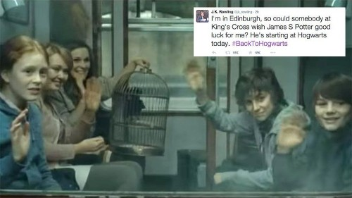 People are wishing Harry Potter's son good luck on his first day at Hogwarts