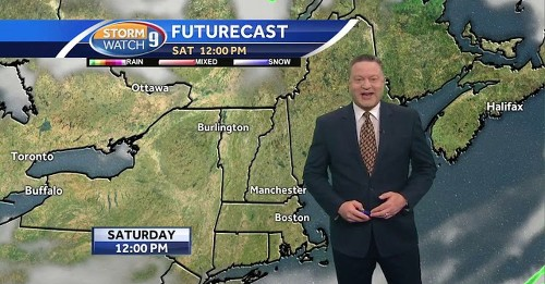 Weather report interrupted by breaking news of good doggo walking across the screen