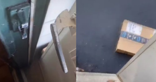 Woman documents her escape after Amazon package traps her inside her house