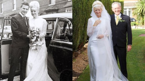 Couple celebrates 50 years of marriage in wedding outfits they wore in 1966