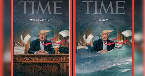 'Time' allows rare cover redesign to illustrate the chaos that is Donald Trump