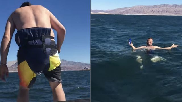 Dude turns lifejacket into diaper to drink beer while floating in the sea