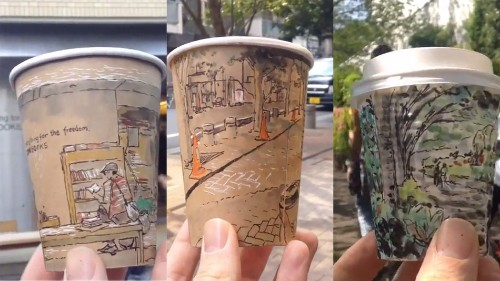 Illustrator creates stunning panoramic views on his coffee cups