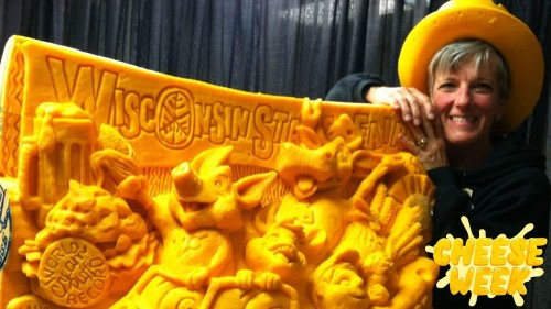 The 'Michelangelo of Cheese' carved a 1,900-pound astronaut, Jon Stewart, and a baby named Colby
