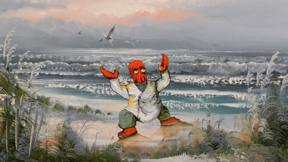 Artist transforms thrift store paintings by adding pop-culture icons