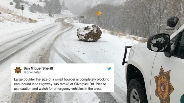 Sheriff's baffling tweet about a boulder in the road goes gloriously viral
