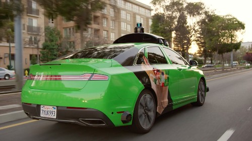 A self-driving delivery car brought me a burger at CES