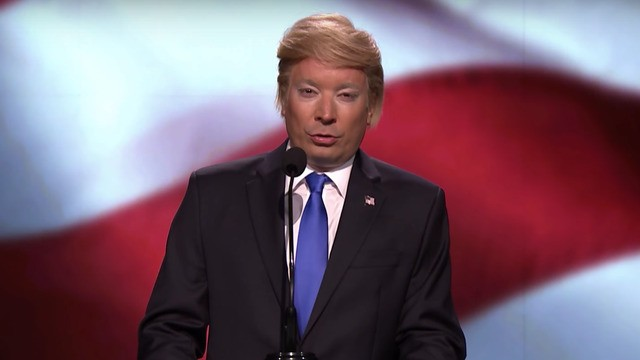 Donald Trump (Jimmy Fallon) gave a passionate defense of Melania's speech
