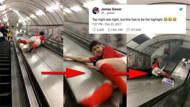 Man attempts to slide down tube escalator, instantly regrets life choices