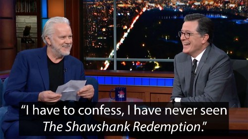 'Shawshank Redemption' Star Tim Robbins Quizzes Stephen Colbert On The Movie, Which He's Never Seen