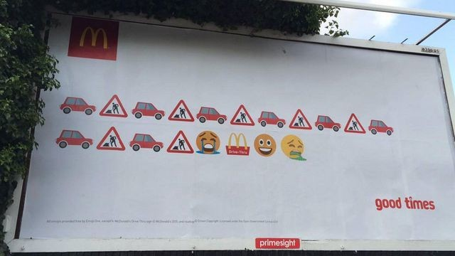 British graffiti artist pranks McDonald's emoji billboard