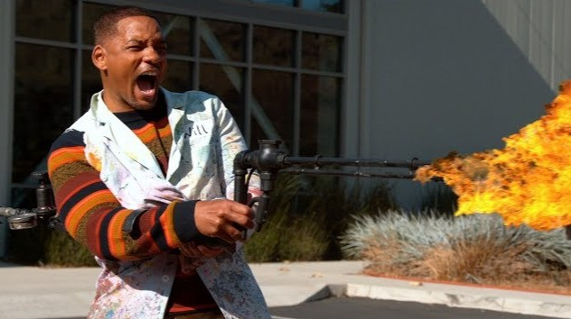 Watch Will Smith go absolutely wild with a flamethrower in slow motion