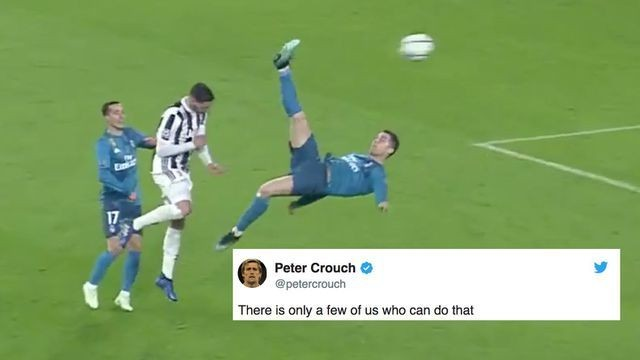 Peter Crouch's response to Ronaldo's bicycle kick has gone viral