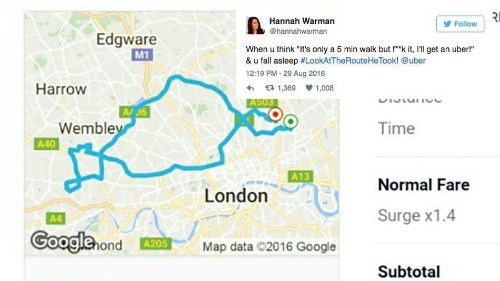 Woman falls asleep in Uber, gets charged £84.95 for 35-mile detour