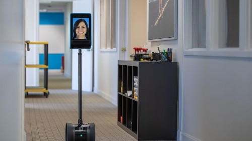 Telepresence robot can semi-autonomously navigate offices, warehouses