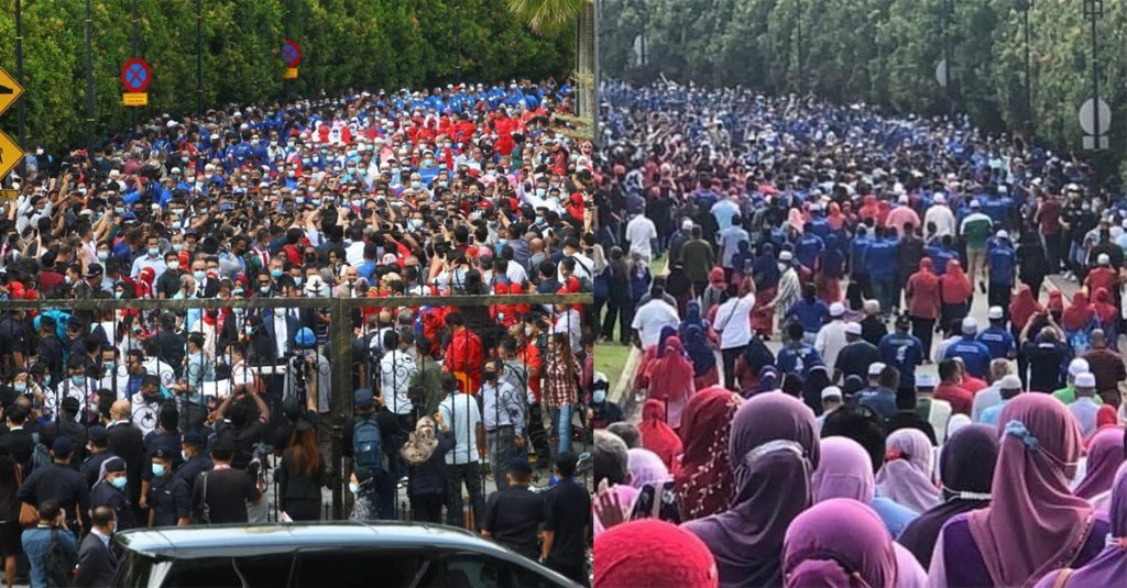 F*ck social distancing. Najib Razak's followers gather by the thousands to show support.