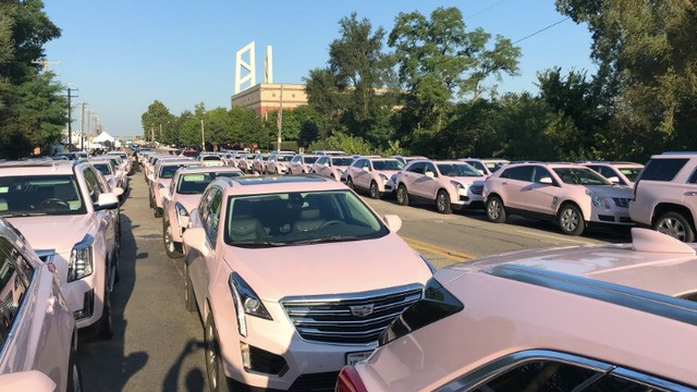 At least 100 pink Cadillacs showed up for Aretha Franklin's funeral