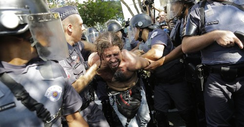 Anti-World Cup Protesters Hit by Stun Grenades and Tear Gas