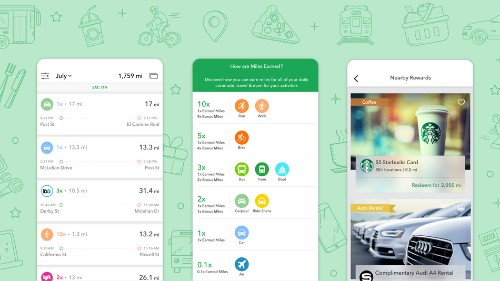 Walk to work and earn miles with this app, just like airline frequent flyer programs