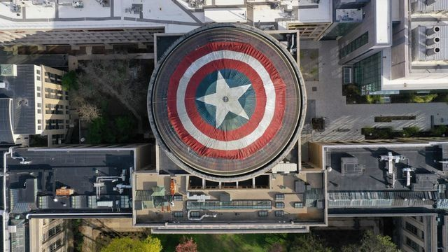 A group of Marvel fans turned MIT's Great Dome into Captain America's shield