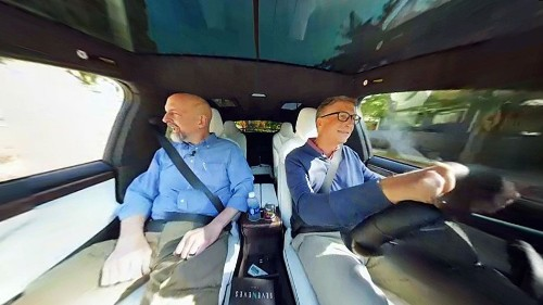 Bill Gates and Neal Stephenson drive into the future in a Tesla in VR