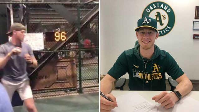 The Oakland A's sign fan who threw viral 96 mph fastball in a speed challenge