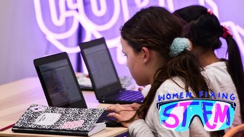 2 kickass women teach girls to code in neon-lit pop-up classroom