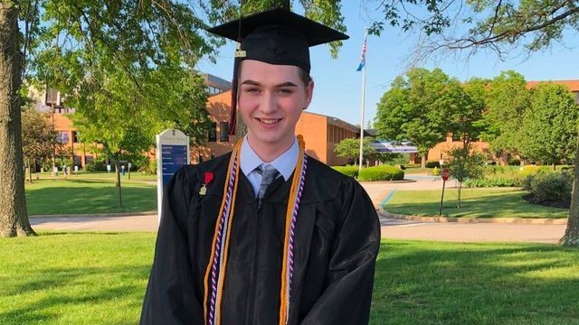 This valedictorian's Catholic school banned his graduation speech. He delivered it outside with a bullhorn instead.